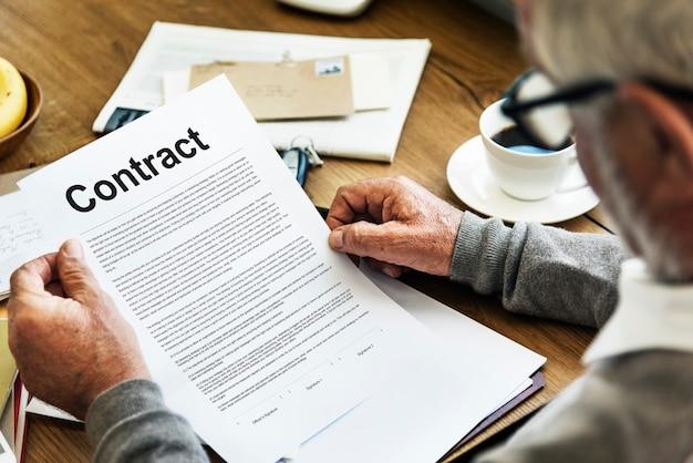 Conditions du contrat d'entreprise concept d'accord juridique