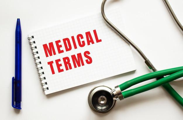 Conditions médicales écrites dans un cahier sur un tableau blanc