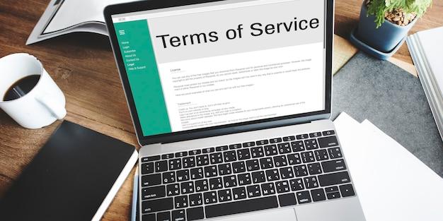 Conditions de service règle politique règlement concept