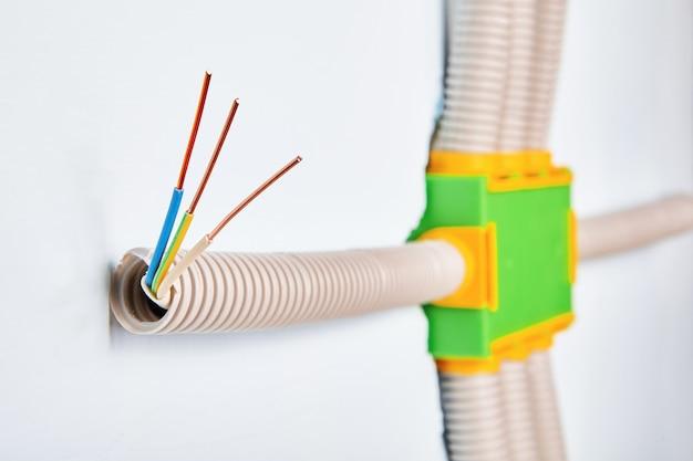 Le conduit est connecté à la boîte de distribution électrique dans le câblage domestique