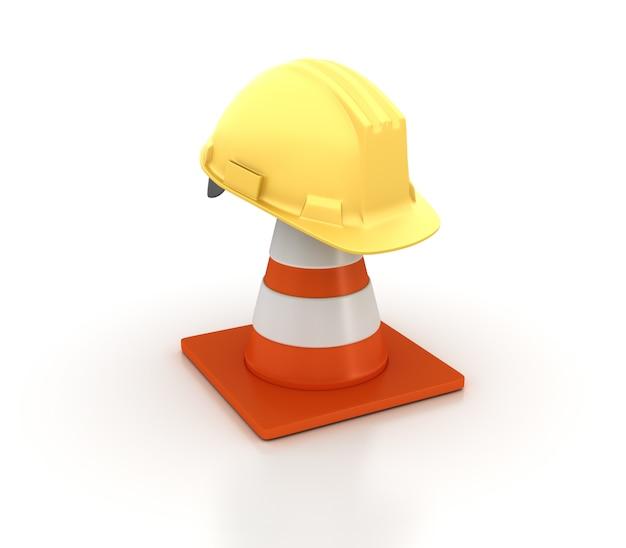 Cône de signalisation 3d avec casque