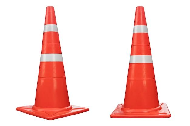 Cône de signalisation de couleur orange réfléchissant isolé sur fond blanc, pour les urgences routières et le chantier de construction.