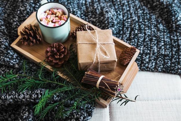 Cônes et brindilles près du cadeau et chocolat chaud sur la couverture
