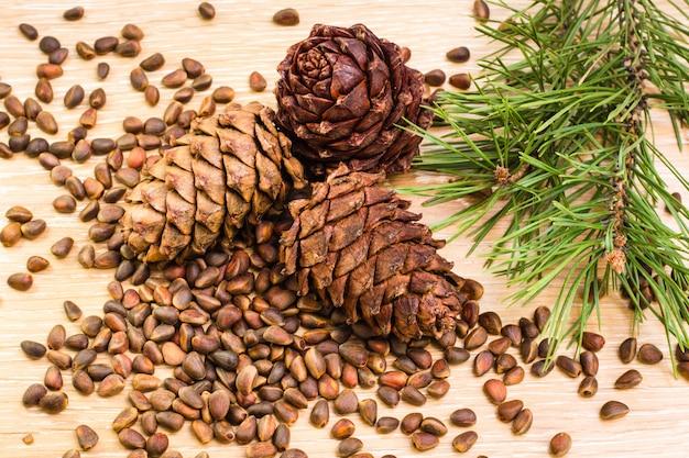 Cônes de cèdre mûrs, pignons de pin et branches de pin sur une table en bois