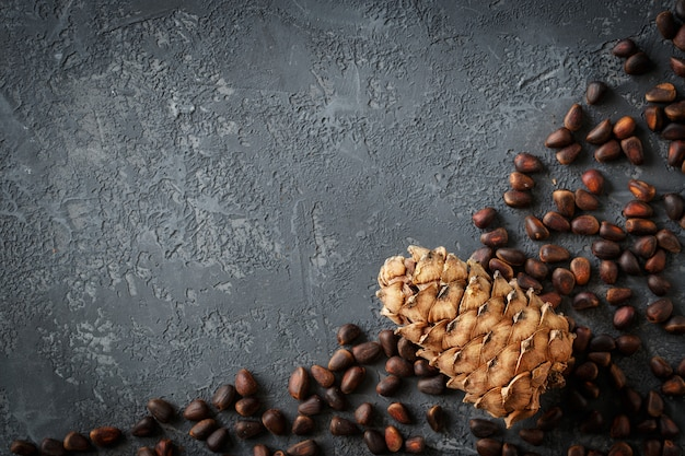 Cônes de cèdre avec noix sur table en pierre