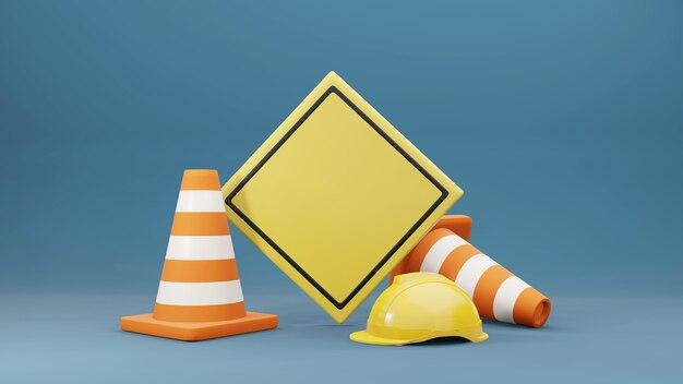 Cônes de circulation cônes de route casque de sécurité et panneau de signalisation rendu 3d