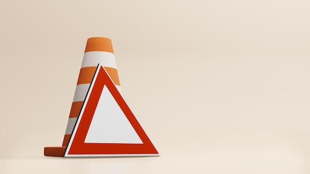 Cônes de circulation cônes de route et rendu 3d des panneaux de signalisation
