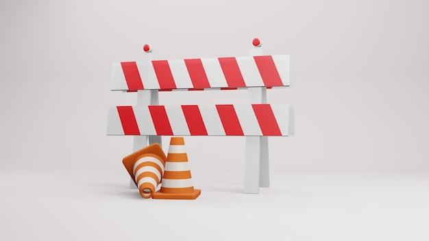 Cônes de circulation cônes de route rendu 3d