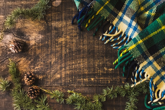 Cônes de conifères et branches près de la couverture