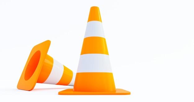 Cônes de construction de trafic routier orange isolés sur fond blanc rendu 3d