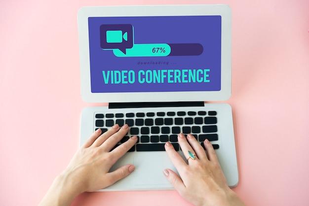Conférence téléphonique concept de technologie de connexion de communication globale