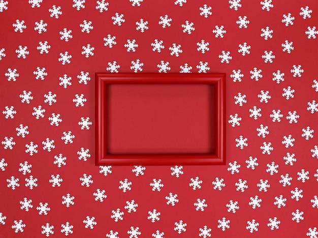 Confettis cadre et flocons de neige sur fond rouge.