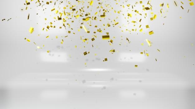 Confettis dorés brillants sur fond blanc