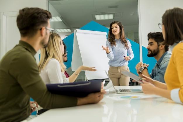 Confiant jeune chef d'équipe donnant une présentation à un groupe de jeunes collègues alors qu'ils sont assis, groupés par le tableau de papier dans le bureau