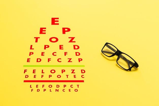 Une configuration à plat du test de la vue, contrôle de la vue optique avec des lunettes
