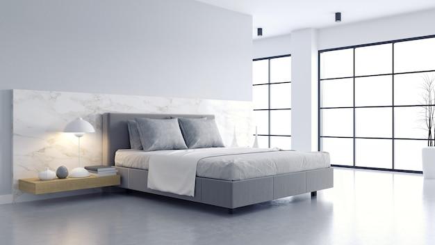 Confortable chambre blanche et grise minimaliste