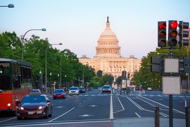 Congrès au coucher du soleil au capitole washington dc