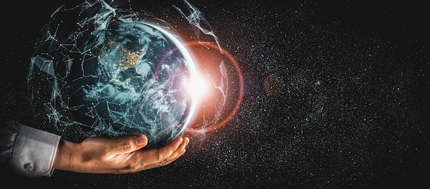 Connexion au réseau mondial couvrant la terre avec lien de perception innovante