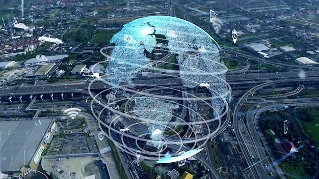 Connexion mondiale et modernisation du trafic dans la ville intelligente