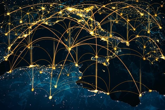 Connexion réseau europe couvrant le continent avec des lignes de perception innovante