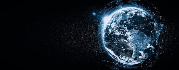 Connexion réseau mondiale couvrant la terre avec des lignes de perception innovantes