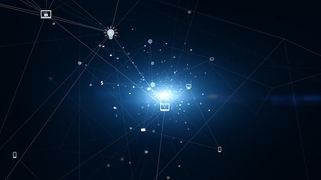 Connexion réseau technologique et données numériques avec des icônes de réseaux sociaux pour des connexions dans le monde entier