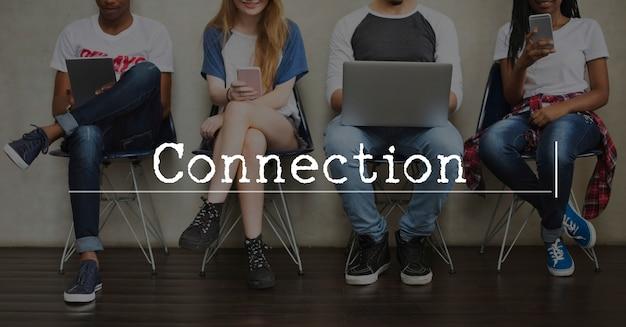 Connexion à la technologie digital life icon