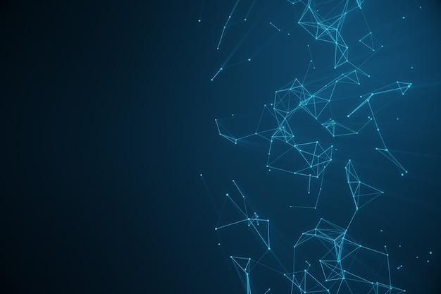 Connexion technologique forme futuriste, réseau de points bleus, fond abstrait, fond bleu, concept de réseau, communication internet, rendu 3d