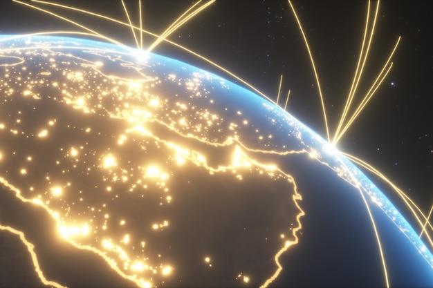 Connexions mondiales avec les lumières de la ville