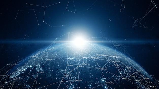 Connexions réseau mondiales dans le monde
