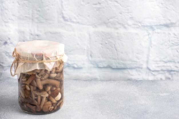 Conservation des légumes dans les banques. produits de fermentation. récolter des champignons pour l'hiver. copiez l'espace.