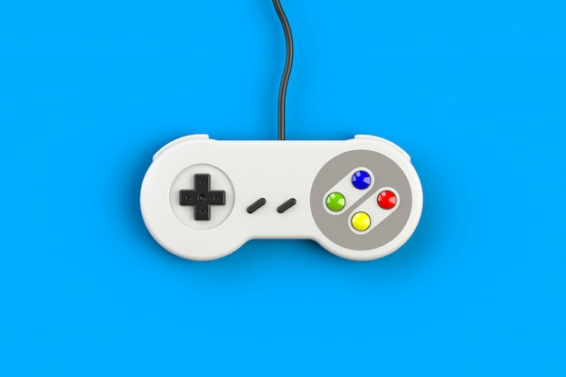 Console de jeux vidéo gamepad. concept de jeu manette rétro vue de dessus isolé, rendu 3d