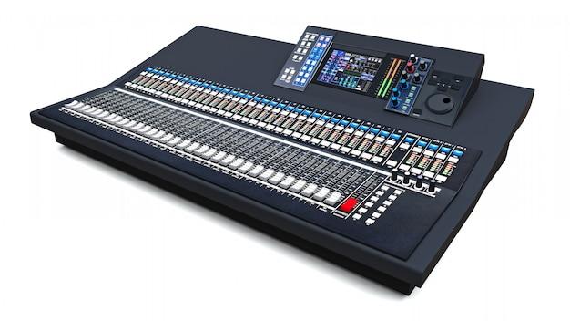 Console de mixage grise de taille moyenne pour le travail en studio et les performances live sur un espace blanc. rendu 3d.