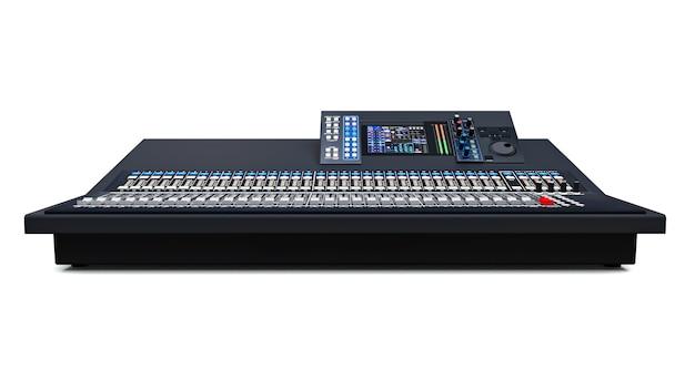 Console de mixage grise de taille moyenne pour le travail en studio et les performances live sur fond blanc