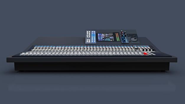 Console de mixage grise de taille moyenne pour le travail en studio et les performances live sur fond gris. rendu 3d.