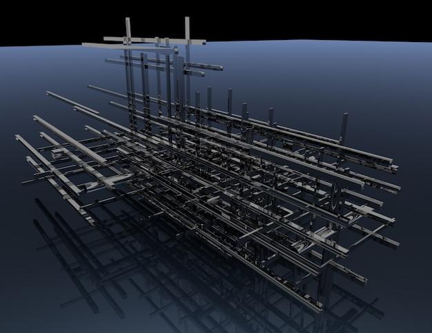 Construction abstraite .3d illustration rendue