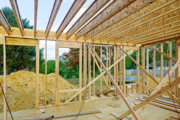 En construction, cadrage maison, vue intérieure, de, maison