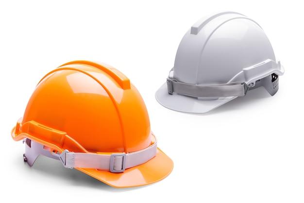 Construction de casque de sécurité blanc orange sur fond blanc.
