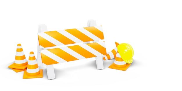 En construction, cônes de signalisation et clôture avec casque