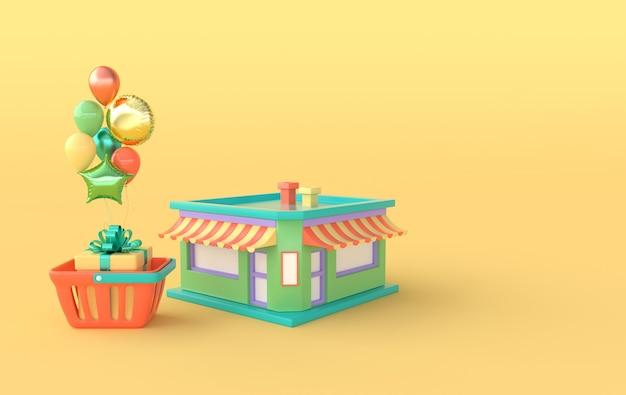 Construction de magasin et panier avec boîte cadeau et ballons