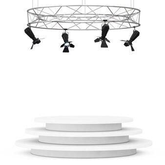 Construction de projecteurs de scène moderne en métal avec podium sur fond blanc. rendu 3d