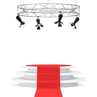 Construction de projecteurs de scène moderne en métal avec tapis rouge au podium sur fond blanc. rendu 3d