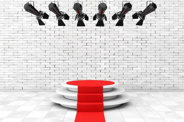 Construction de projecteurs de scène moderne en métal avec tapis rouge jusqu'au podium devant le mur de briques. rendu 3d