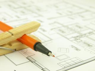 Construire une maison et des outils de l'architecte, architecte