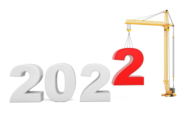 Construisez le futur concept. grue à tour avec signe de l'année 2022 sur fond blanc. rendu 3d