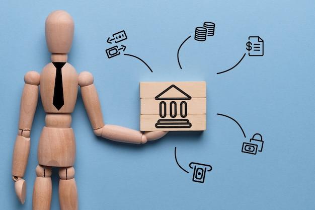 Consultant abstrait avec des produits et services bancaires en tant que concept.