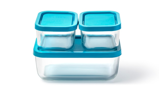 Contenants alimentaires en verre isolés sur fond blanc