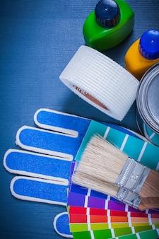 Contenants de peinture pantone fan gants de sécurité pinceaux ruban domestique