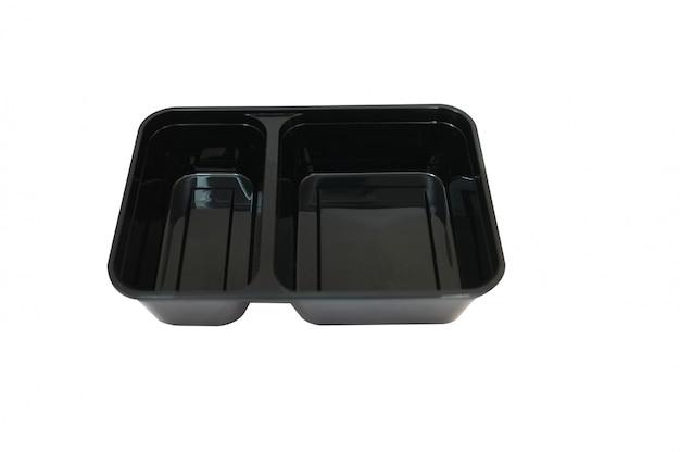 Conteneur alimentaire en plastique noir sur fond blanc