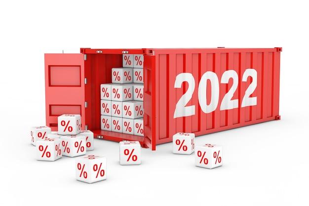 Conteneur d'expédition de fret rouge du nouvel an 2022 avec des cubes de pourcentage de remise sur fond blanc. rendu 3d